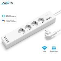 WIFI Smart Power Strip 4 Ouvrages de l'UE 16A Prise de fiche avec port de charge USB, application vocale de l'application Travail de contrôle par Alexa Google Home Assistant