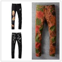 Herren Jeans Designer Hosen Klassische Vintage Weiß Off Hosen Mode Slim Bein Cowboy Berühmte Marke Zipper Design Verkauf Hip Hop Denim US Größe 28-40