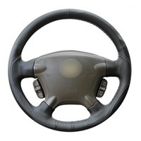 Hand- stitched Black Leather Anti- slip Car Steering Wheel Cov...