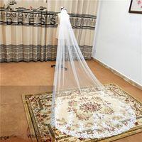 3M lace borda catedral véus de casamento com pente branco marfim longa tule véus acessórios de casamento véu de Novia CPA3216