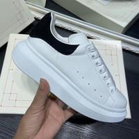 Topkwaliteit Mens Dames Blauwe Velet Back Platform Sneakers Wit Lederen Trainers Comfortabel Mooie Girl Wholesale Style Casual Schoenen