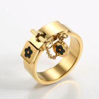 أزياء محظوظ زهرة سحر مع سلسلة حلقة الذهب / الشظية الفولاذ المقاوم للصدأ الحب وعد الاصبع خواتم للنساء الرجال مجوهرات هدية