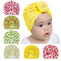 Bébé motif de fruits faits à la main turban nouveau-nés tuque fraise kiwi pastèque papayes ananas imprimé chapeaux indiens chapeau Donuts