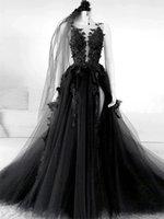 Gothic Style Black Lace Brautkleider Blume Appliques Tüll Eine Linie Sexy Backless Vintage Design 2021 Brautkleider plus Größe