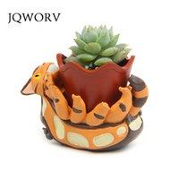 JQWORV Creativo Totoro Flower Pot Pot Resina Flowerpot Piante succulente Piante piantatrice Pentola Mini Maceteros Home Giardino Decorazione Piantatura Y200723