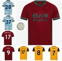 Chemise à domicile de football Wolver # 8 N ° 9 Neus # 9 Ruelle 20/21 Hommes Soccer Chemises de football jaune Adama J.Moutinho Uniformes de football personnalisé