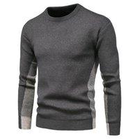 2020 Новые O-образные вырезывающие пуловеры мужской свитер повседневный цвет сопоставление полосатый свитер мужчин осень мода тонкий подходящий мужской