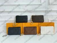 M62650 القديم زهرة مفتاح سلسلة حامل مفتاح الحقيبة البريدي محافظ عملة جيب قماش جلدية بطاقة مفتاح محافظ المرأة مصمم مصغرة مصمم 62650