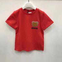 키즈 패션 Tshirts 2021 새로운 도착 짧은 소매 티즈 탑스 소년 소녀 어린이 캐주얼 편지 곰 패턴 티셔츠 풀오버