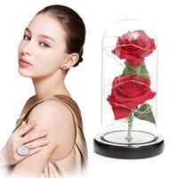 Sevgililer Günü Hediye Simülasyon Altın Folyo Gül Led Aydınlatma Güzellik Eternal Rose Ölümsüz Cam Kapak Yapay Çiçek DDA664
