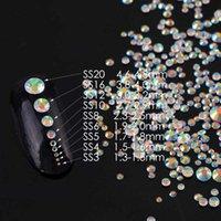 SS3-SS20 Transparente AB Sobre 1440 pcs Shiny Nail Art Vidro Não Hotfix Cola Flatback em Rhinestones para DIY Nail Art Jóias