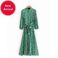 Yeni Tasarım 2021 Markası Vintage Kadın Yeşil Çiçek Rahat Kiralama Elbise Uzun İzle Boyun Boyun Lüks Parti Giysileri RMSF
