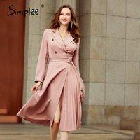 Simplee beiläufige Klage Kragen Herbst Frauen kleiden Lange Hülse Bürodame asymmetrisch langes Kleid Slim mit Gurt A-Linie weiblichem Kleid 200928