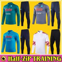 Traje de fútbol de Napoli 1/4 MANERA LARGA DE ZIP 2020 2021 MARADONA Hombre Nápoles Calcio de calcio Trajes de entrenamiento Survetement Mertens Chandal Jogging Set