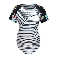 Женщины Беременные Уход Детские футболки с коротким рукавом в полоску Цветочный Топы летние рубашки Беременность Блуза Allaitement