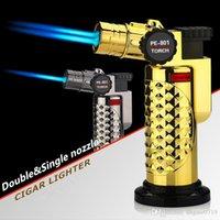 금속 시가 라이터 하나 개의 노즐 또는 두 개의 노즐 제트 강력한 화염 토치 금속 스프레이 건 부탄 리필 가스 라이터 점화 도구 없음 가스