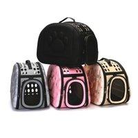 Sac de porte-chien sac portable chats sacs à main de transport pliable Pet Sac pour animaux de compagnie chiot portant des sacs d'épaule de maille S / m / L sac de porte-chat LJ201201