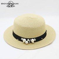 Bingyuanhaohoxuan الصيف قبعة الشمس الجدة 2020 للنساء قبعات المألوف سترو هات إنجلترا البحر شاطئ رحلة كبسولة