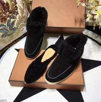 Süet Deri Kürk Içinde Erkek Kadın Kış Sürüş Rahat Ayakkabılar Loro Lüks Tasarımcı Açık Yürüyüş Flats Mocassin 35-46