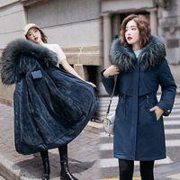 Frauen Jacken 5XL 6XL Plus Größe Frauen Daunen Parkas Winter Warme Pelz Liner Weibliche Oberbekleidung Verdicken Lange Baumwolle Gepolsterte Mantel Frau