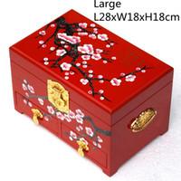 3 camadas de madeira grande cai decorativa caixa de armazenamento de luxo Drawer Pull Organizer Caso chinês Lacquerware Jóias Caixa com presentes de bloqueio