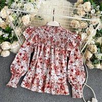 Шифон блузка эластичные складки маленький стойкий воротник Western Style Wood Wood уши слойки рукава рыхлые печать рубашки женщины UK2351
