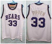 Mens 33 Scottie Pippen Hamburg Ursos High School costurado número personalizado e nomeie madeirasCamisas brancas de jérseis de basquete clássicos
