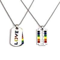 2020 Gay mode en acier inoxydable Fierté Amour arc Colliers Lesbienne Pendentifs perles Colliers pour les femmes Choker Hommes Bijoux