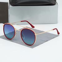 Alta Qualidade Rodada Estilo Óculos de Sol Liga Pu Frame Espelhado Lente de Vidro FO3647R Homens Mulheres Dupla Bridge Retro Eyewear com pacote