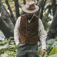 برونسون في الهواء الطلق كودري الصيد الصدرية 1940S خمر مستوحاة الرجل المجال صدرية Y201123
