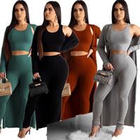 Kadın Üç adet Oluklu Örme Hırka Long Coat + ayarlar Crop Tank Yelek + Pantolon Tayt Kıyafet Şık Stretch Giyim Seti tulumları F92909