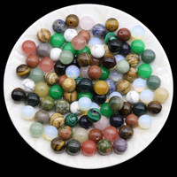 Natural Stone Semi-hole Beads 8mm 10mm 12mm Agate Crystal Pink Quartz Turquoise Opal Gemstone Loose Bead DIY Jewelry Accessories