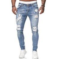 Jeans pour hommes hommes déchiré les motards noirs pantalons crayon slim Denim Street jogging Cowboy vêtements mâle