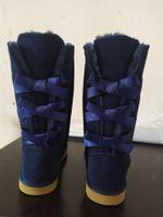 Hohe Frauen Kinder Mode Stiefel Neue Kniestiefel Half Boot Knöchel Kuh Split Leder Frauen Kinder Bailey Bow Schneebohnenschuhe