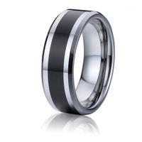 Classic Black Men's Tungsteno Carburo Gioielli 8mm Anelli di coppia di nozze per uomo Matrimonio Anniversary Gift1