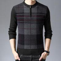 Suéteres para hombre # 1396 Hechos de punto Pullover Plaid Casual Casual Homme O Cuello Slim Knitwear Hombre Zipper Middle Envejecido Papá