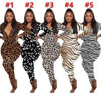 Frauen Jumpsuits Strampler Freizeit Leopard Drucken Lange Ärmel V-Ausschnitt Designer Nachtwäsche Spielanzug Bodysuit Damen Pyjama Onesies S-XXL E122812