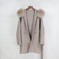 Moda-OFTBUY 2020 Gerçek Kürk Kış Ceket Kadınlar Gevşek Doğal Fox Kürk Yaka Kaşmir Yün Karışımları Dış Giyim Streetwear Oversize