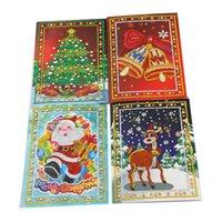 Diamond Painting Christmas Greeting Cards Diamond Cartoon Mini Santa Claus Merry Christmas Paper Cards Craft Gift