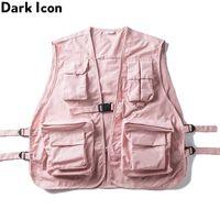 Múltiple OSCURO ICONO Militar bolsillos de cadera por carretera Hop mangas Core papá de los hombres de la chaqueta de los hombres de Gilet del chaleco de Streetwear 201106