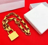 Moda altın Kilit kolye kolye zincirleri mens için Bijoux ve kutu ile Kadınlar Partisi Düğün Aşıklar hediye hip hop takı