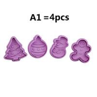 48 Estilo 1Ponga = 4pcs 3D de plástico PP cortador de las galletas de Navidad resorte de presión molde de la torta que adorna las herramientas Galletas GGD2734 Molde