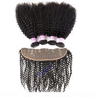 몽골 변태 곱슬 머리 묶음 레이스 정면 클로저 브라질 버진 머리 인간의 머리카락 3 묶음 귀 정면 폐쇄에 13x4 귀