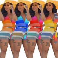 النساء playsuit الصيف قصيرة الأكمام قوس قزح مخطط bodycon ارتداءها عميق الخامس الرقبة الخصر حزام قصير بذلة رومبير