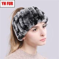 Ring Scarves Warm Soft Women Genuine Headbands Scarf Handmade Knitted Real Rex Rabbit Fur Scarfs Y201007