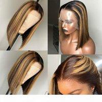13x6 Destaque Wig Ombre Marrom Honey Loira Curta Bob Peruca HD Renda Peruca dianteira Colorida 360 Frontal Human Human Wigs 4x4 Encerramento
