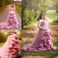 Tüll Mutterschaftskleider für Fotoshooting Custom Made 3D Blumen Schwangere Frauen Fotografie Requisiten Designer Weddiing Party Nachtwäsche