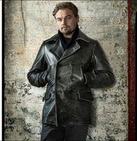 Livraison gratuite.Winter Man Veste en cuir épais, manteau en cuir véritable homme.Vintage Vêtements de vachette gris.Long vêtements