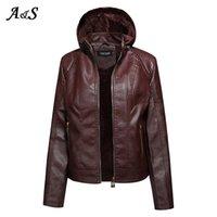 Anbenser Faux Leather Jacket Mulheres Hoodies Gótica Básica PU revestimento morno do velo Casacos com capuz Zipper das senhoras impermeáveis Brasão XL
