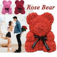 35 cm 23 cm Romantik Sevimli 3D Katı Gül Çiçekler Ayı Düğün Dekorasyon Parti Sevgililer Günü Hediyeleri Kız Arkadaşı için1